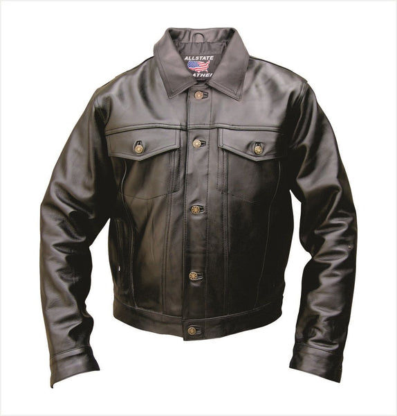 Mens Denim Style Buffalo Leather Jacket