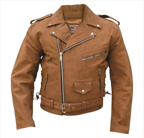 Mens Brown Leather Motorcycle Jacket w/ Zip-Out Liner & Side Laces