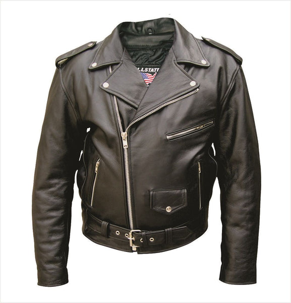 Mens TALL Buffalo Leather Motorcycle Jacket w/ Zip-Out Liner