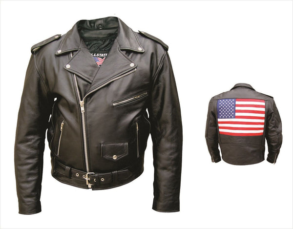 Mens Buffalo Leather Motorcycle Jacket w/ USA Flag