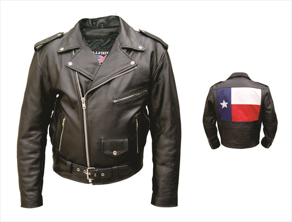 Mens Buffalo Leather Motorcycle Jacket w/ Texas Flag