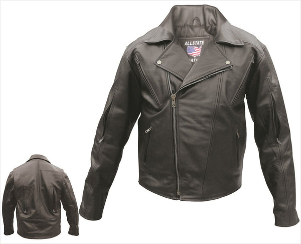 Mens Buffalo Leather Motorcycle Jacket w/ Vents Front, Back & Sleeves