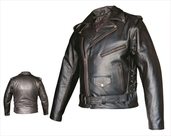 Mens Motorcycle Jacket w/ Side Lace, Z/O Liner & Antique Hardware