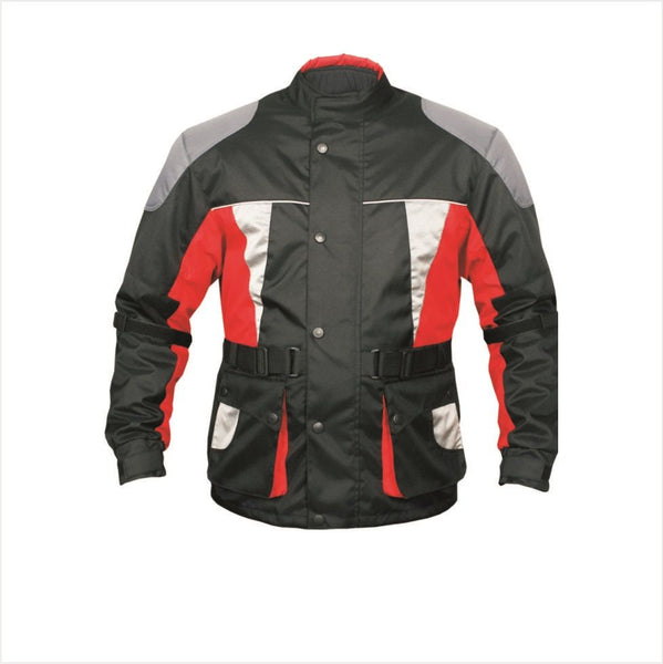 Mens Armored 3/4 Length Black, Red, White and Gray Cordura Jacket
