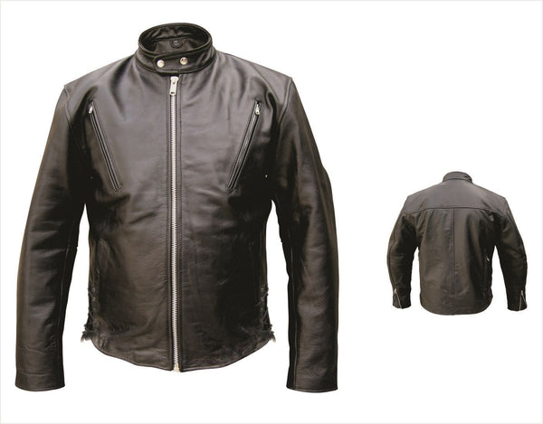 Mens Leather Scooter Motorcycle Jacket w/ Side Lace & Air Vents