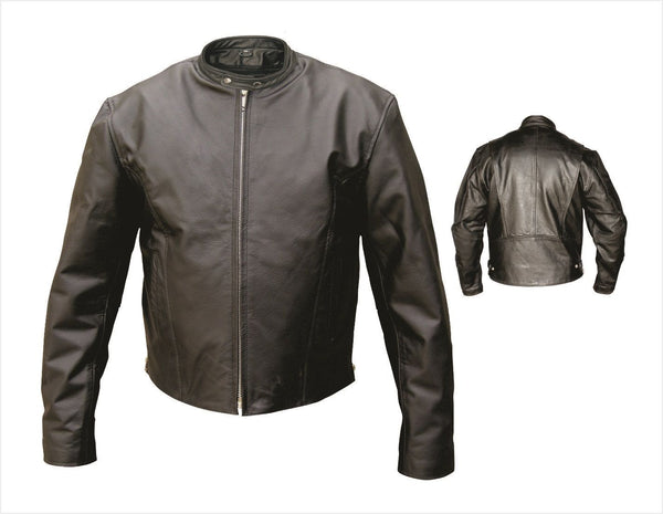 Mens Leather Scooter Motorcycle Jacket w/ Zippered Sides
