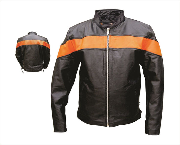 Mens Black & Orange Scooter Motorcycle Jacket w/ Side Laces