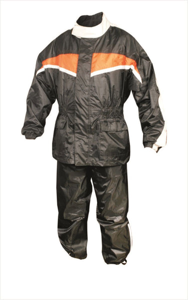 Mens Black and Orange Motorcycle Rain Suit with Reflective Stripe
