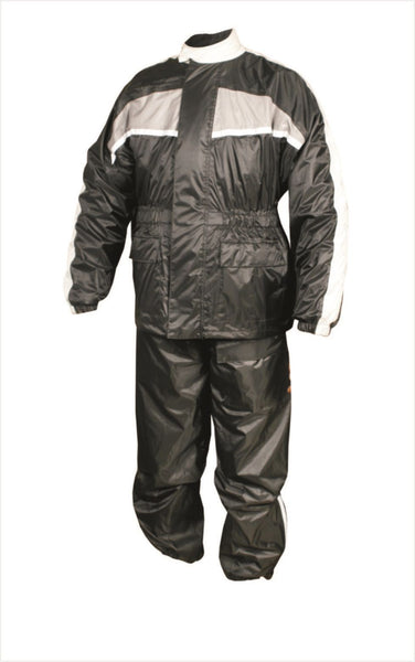 Mens Black and Gray Motorcycle Rain Suit with Reflective Stripe