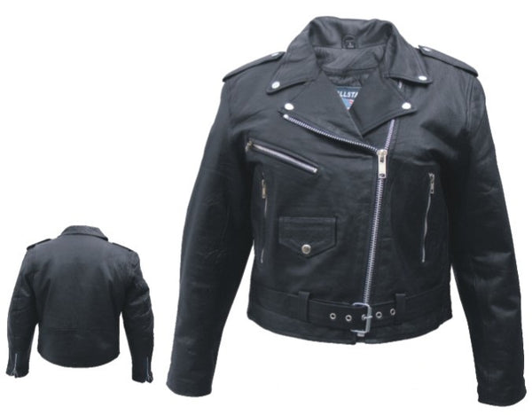 Womens Basic Full Cut Motorcycle Jacket (Lambskin)