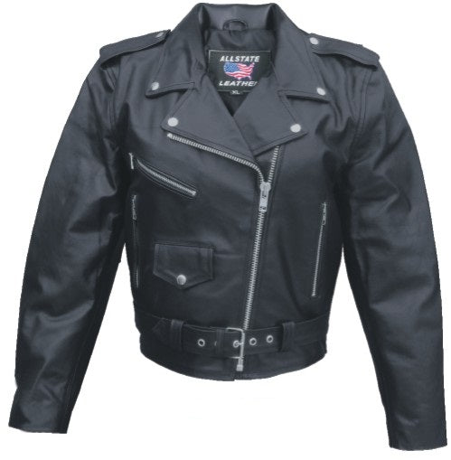 Womens Basic Leather Motorcycle Jacket