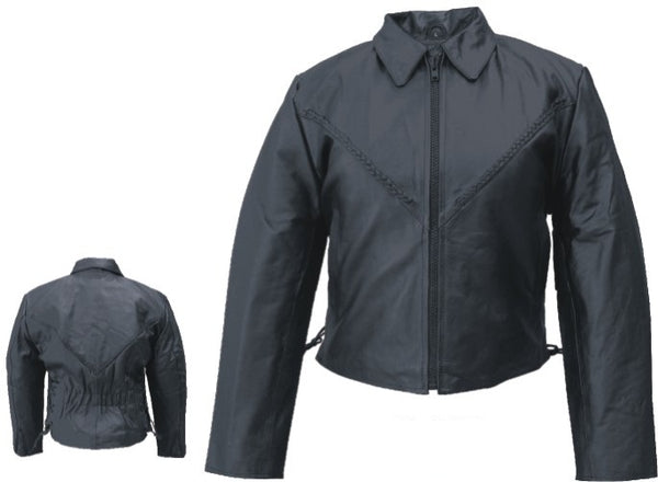 Womens Lambskin Leather Motorcycle Jacket with Braid & Side Lace