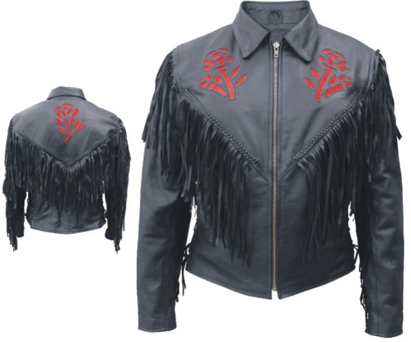 Womens Red Rose Motorcycle Jacket w/ Fringe, Braid & Side Lace