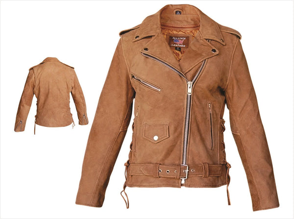 Womens Brown Leather Motorcycle Jacket with Side Lace & Z/O Liner