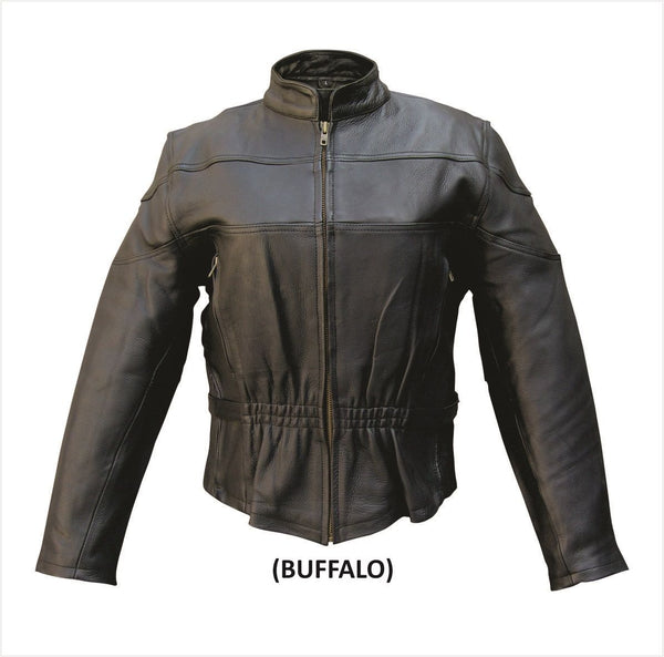 Womens Buffalo Leather Motorcycle Jacket with Vents & Z/O Liner