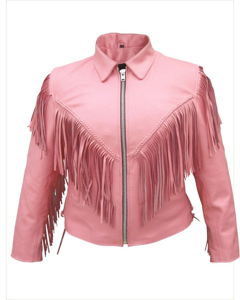Womens Pink Motorcycle Jacket with Fringe, Braid & Zip-Out Liner