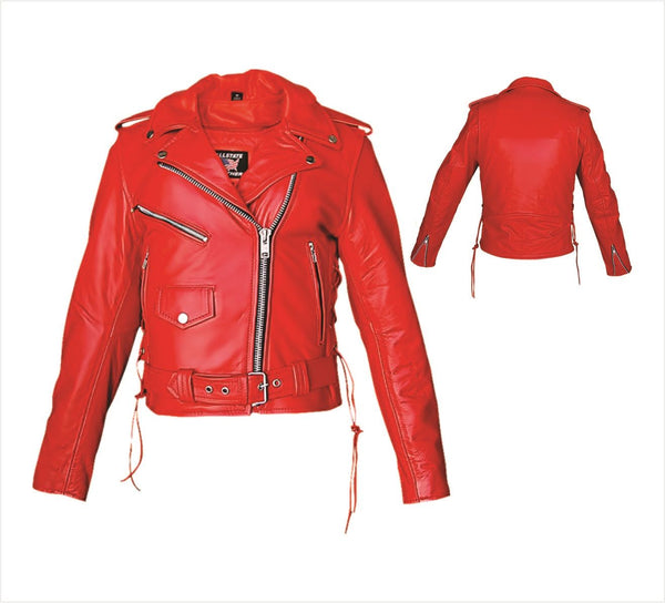 Womens Red Leather Motorcycle Jacket with Side Laces