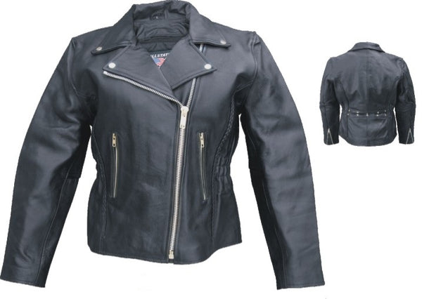 Womens Motorcycle Jacket w/ Braid, Studs & Silver Hardware