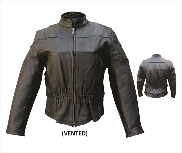Womens Naked Cowhide Motorcycle Jacket with Vents & Z/O Liner
