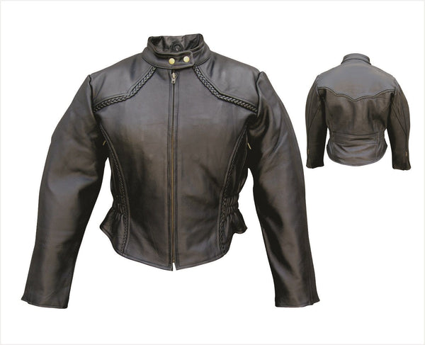 Womens Naked Cowhide Touring Jacket w/ Euro Collar & Braided Trim