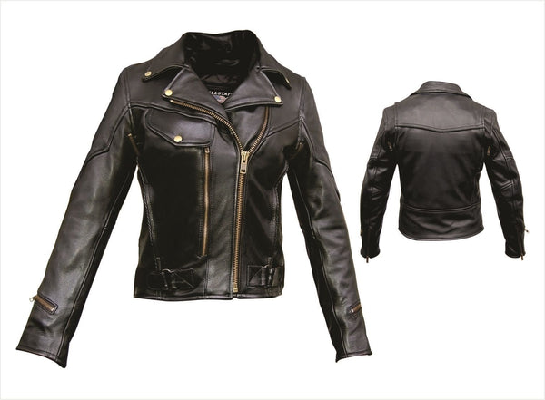 Womens Vented Leather Motorcycle Jacket w/ Braid Trim & Z/O Liner
