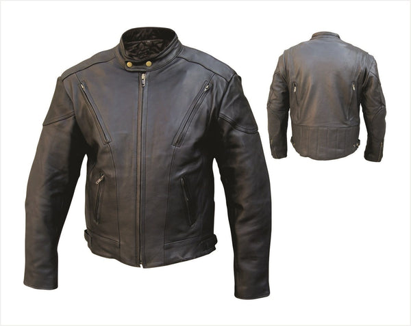 Womens Vented Leather Touring Jacket w/ Euro Collar & Z/O Liner