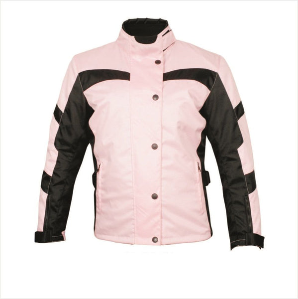 Womens Pink and Black Cordura Jacket with Removable Armor