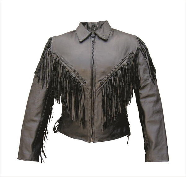 Womens Motorcycle Jacket w/ Fringe, Braid, Side Lace & Z/O Liner