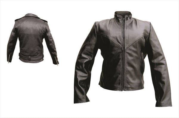 Womens Plain Motorcycle Jacket w/ Zip-out Liner
