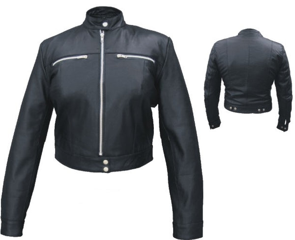 Womens Black Leather Motorcycle Jacket with Two Chest Pockets