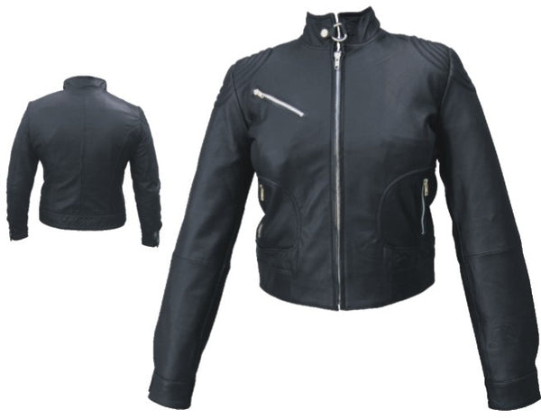 Womens Black Leather Motorcycle Jacket with One Chest Pocket