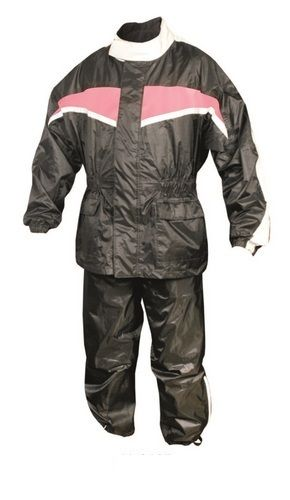 Womens Black and Pink Motorcycle Rain Suit with Reflective Stripe