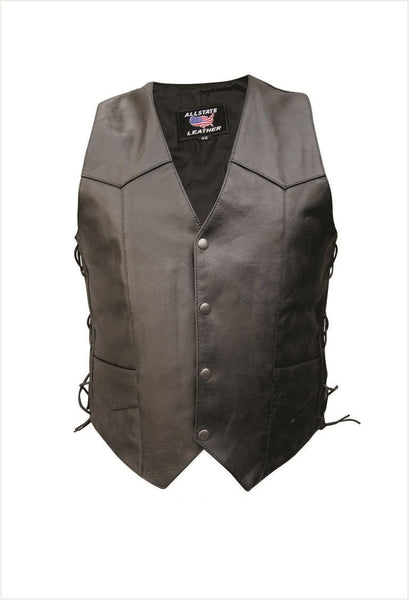 Mens Buffalo Leather Vest w/ Side Laces