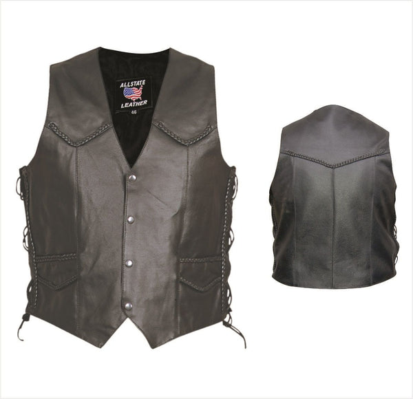Mens Split Cowhide Leather Vest w/ Braid & Side Lace