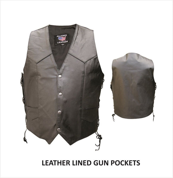 Mens Buffalo Leather Vest w/ Side Lace & Lined Gun Pockets