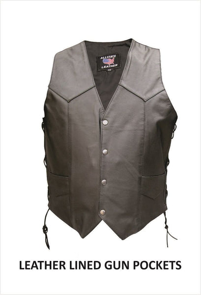 Mens Motorcycle Vest with Side Lace and Leather Lined Gun Pockets