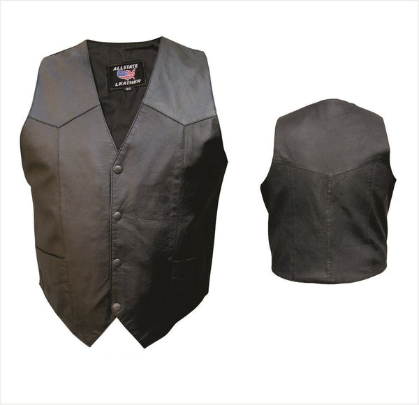 Mens Basic Split Cowhide Leather Vest