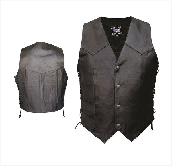 Mens Basic Split Cowhide Leather Vest w/ Side Lace