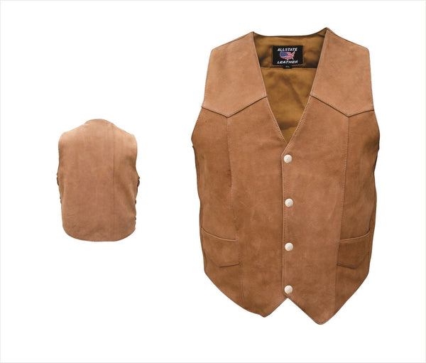 Mens Basic Brown Leather Vest