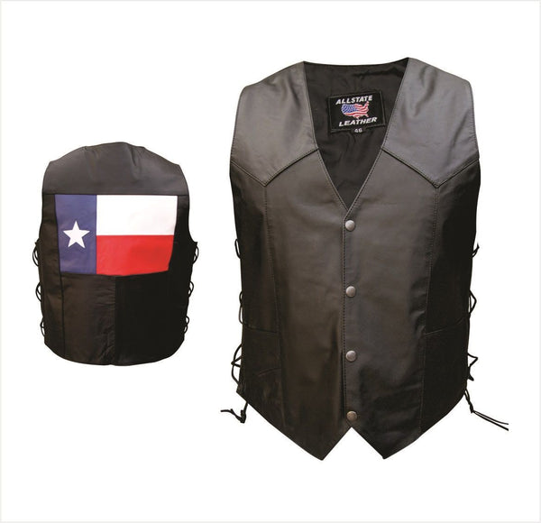 Mens Buffalo Leather Vest w/ Texas Flag