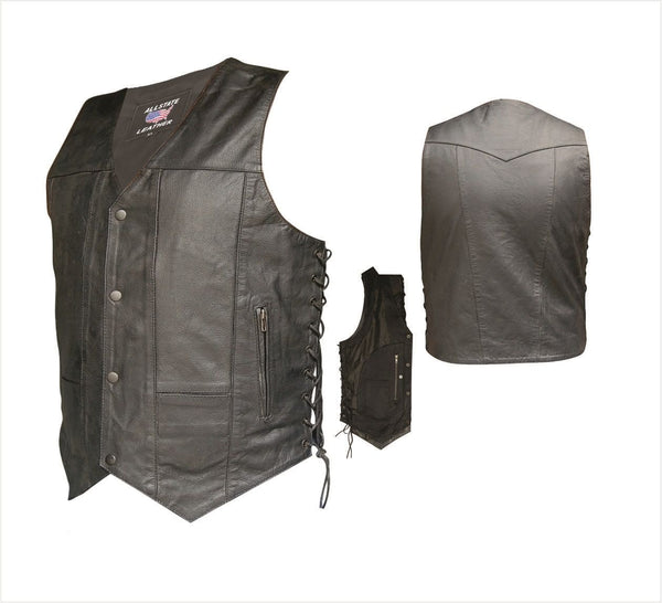 Mens Aniline Cowhide Leather Vest w/ 10 Pockets