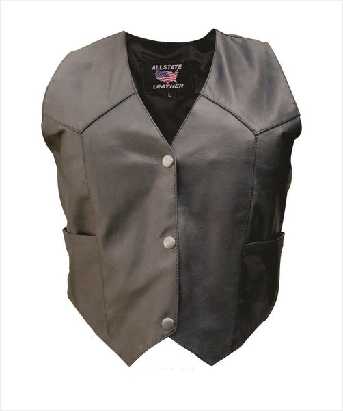 Womens Plain Leather Vest