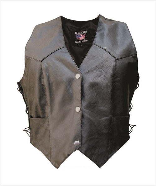 Womens Plain Leather Vest w/ Side Laces