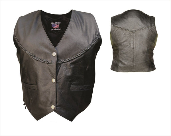 Womens Braided Leather Vest