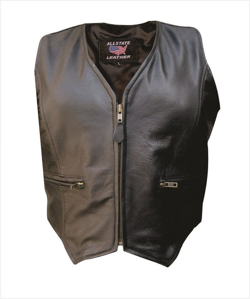 Womens Leather Vest w/ Zippered Front