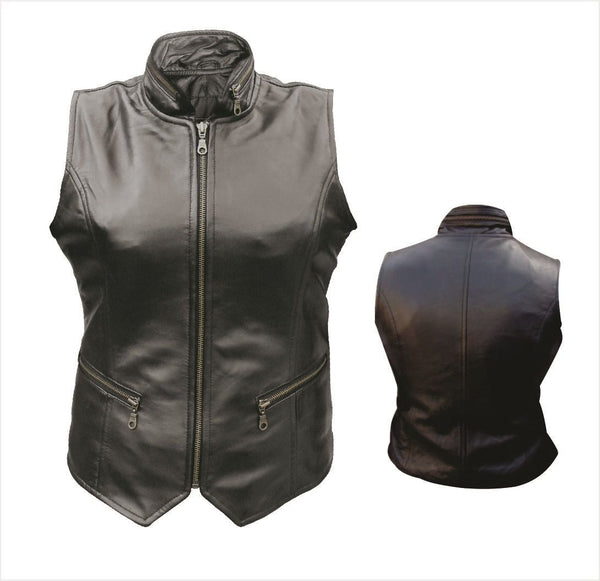 Womens Leather Vest w/ Zippered Front, Pockets & Collar
