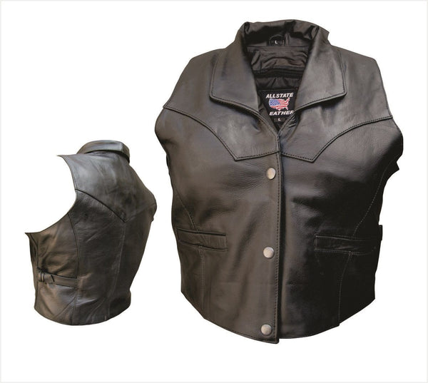 Womens Leather Vest w/ Collar & Adjustable Side Buckles