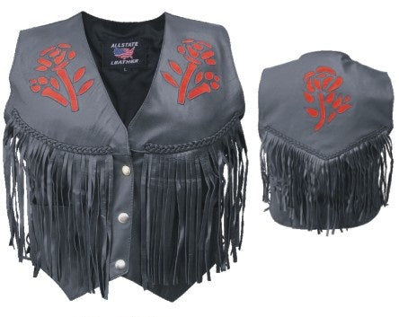 Womens Red Rose Leather Vest w/ Braid, Fringe & Side Lace