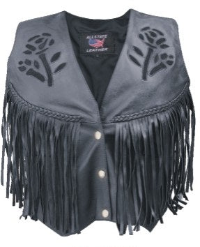 Womens Black Rose Leather Vest w/ Braid, Fringe & Side Lace