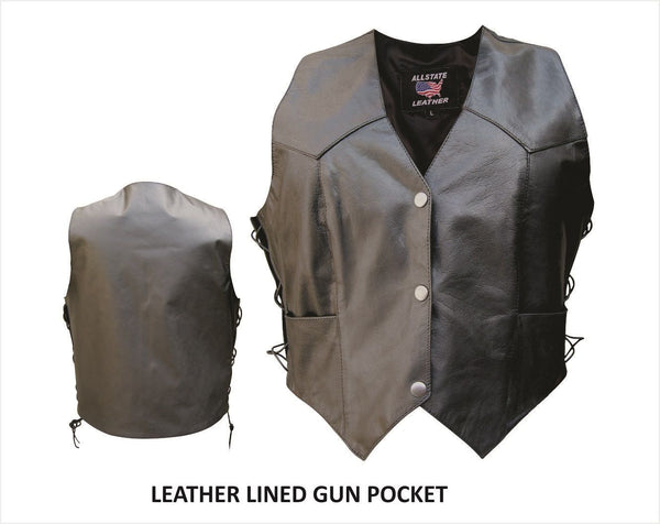 Womens Buffalo Leather Vest w/ Side Lace & Lined Gun Pockets